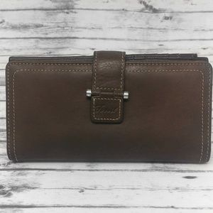 FOSSIL-Brown Leather Clutch Wallet